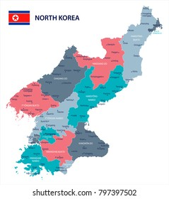 North Korea map and flag - High Detailed Vector Illustration