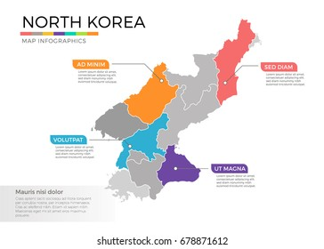 North Korea map infographics vector template with regions and pointer marks