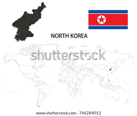 North Korea Map On World Map Stock Vector (Royalty Free) 746284012 ...