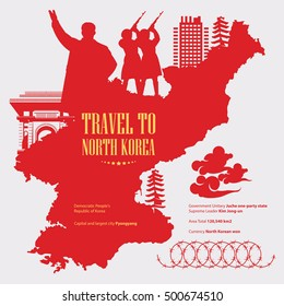 North Korea poster with red korean map. Silhouette vector illustration.
