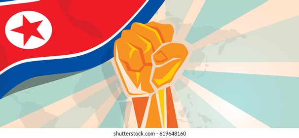 North Korea propaganda poster fight and protest independence struggle rebellion show symbolic strength with hand fist