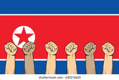 north korea protest fight against a war illustration with flag as background and a lot of hand