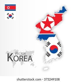 North Korea and South Korea ( flag and map ) ( transportation and tourism concept )