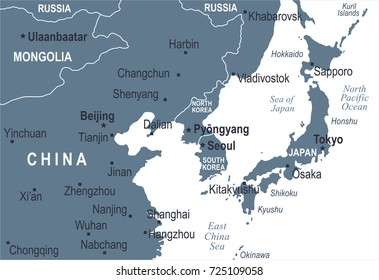 China Korea Map Images Stock Photos Vectors Shutterstock