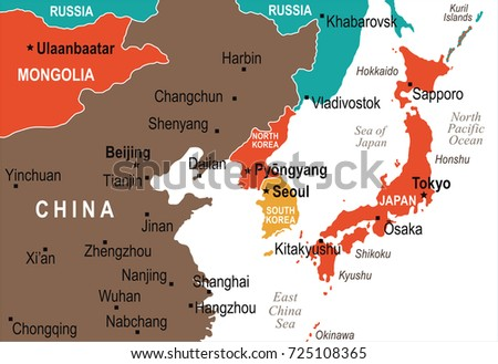 North Korea South Korea Japan China Stock Vector (Royalty Free ...