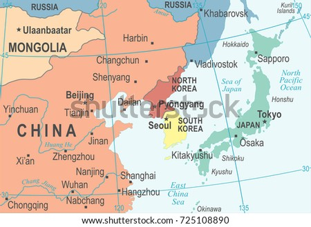 North Korea South Korea Japan China Stock Vector (Royalty Free