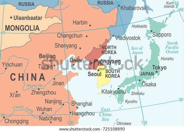 North Korea South Korea Japan China Stock Vector Royalty Free