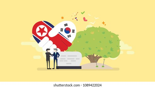 North Korea And South Korea Peace Diplomacy Tiny People Character Concept Vector Illustration, Suitable For Wallpaper, Banner, Background, Card, Book Illustration, Web Landing Page, and Others
