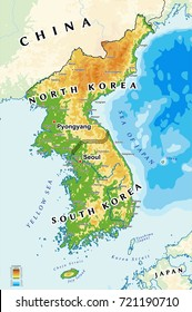 North Korea and South Korea physical map.