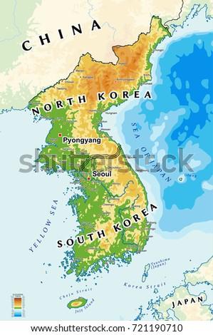 North Korea South Korea Physical Map Stock Vector Royalty Free