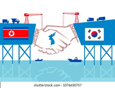 North Korea and South Korea Unity with Reunification Map in the Middle concept. Editable Clip Art.