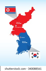 North Korea and South Korea vector map with flags isolated