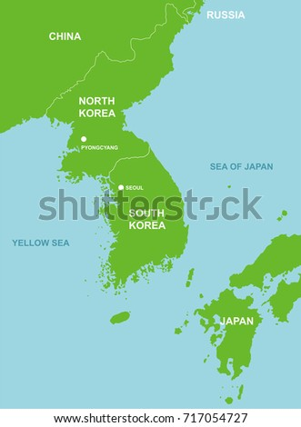 North Korea Surrounding Countries Map Stock Vector (Royalty Free ...