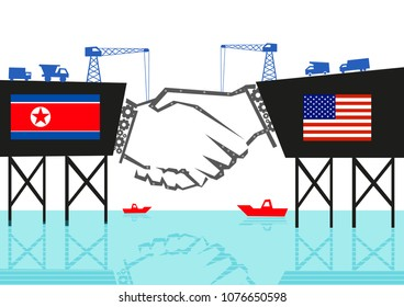 North Korea and USA handshake and building friendly bridge concept. Editable Clip Art.