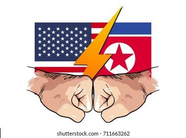 north korea vs america, hand punch drawing