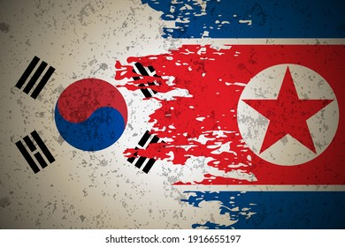 North Korea VS South Korea Flag Vector Background Illustration