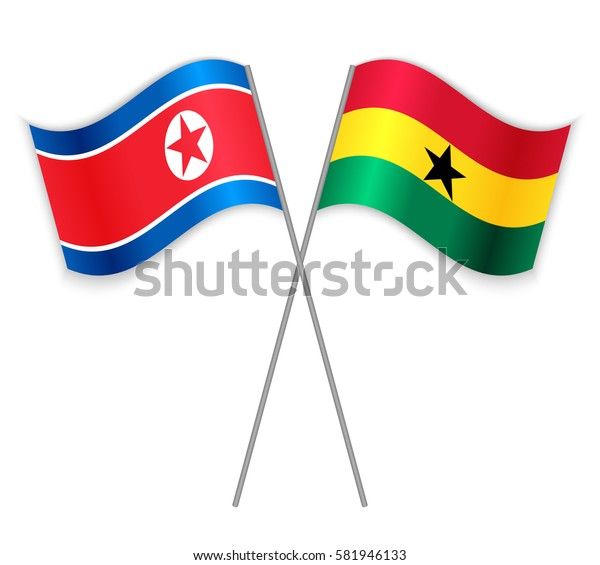 North Korean and Ghanaian crossed flags. North Korea combined with Ghana isolated on white. Language learning, international business or travel concept.