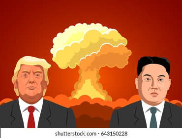North Korean leader Kim Jong-un and US President Donald Trump against a background of a nuclear explosion
