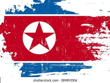 North Korean scratched Flag. A North Korean flag with a grunge texture
