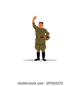 North Korean Soldier in uniform sign. Asian Military Leader. Vector Cartoon Illustration. Branding Identity Corporate logo design template Isolated on a white background