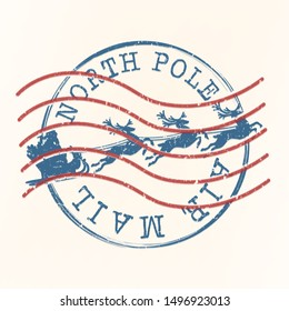 North Pole Air Mail. Santa Claus Christams Stamp. Vector Old Seal. Scrapbook Badge Letter.