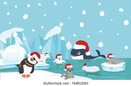 North pole animal background with santa hat