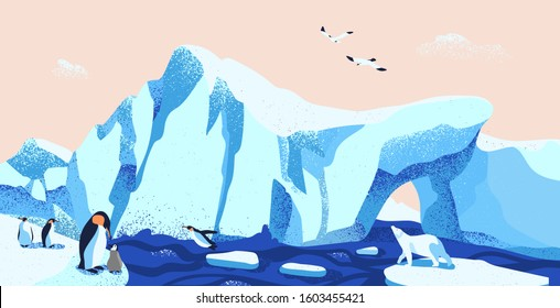 North pole, arctic ice landscape flat vector illustration. Beautiful antarctic scenery with local fauna. Glacier panorama with emperor penguins, polar bear and seagulls. Boreal climate inhabitants.