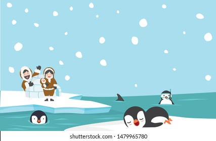 North pole eskimo igloo ice house with penguins background