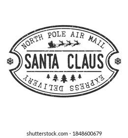 North Pole Mail Santa Claus Vector Stamp Round Design illustration Silhouette.