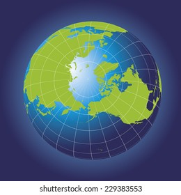 North Pole map. Europe, Greenland, Asia, America, Russia. Earth globe. Elements of this image furnished by NASA. Planet earth as seen from space