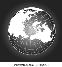North Pole map. Europe, Greenland, Asia, America, Russia. Earth globe. Worldmap. Elements of this image furnished by NASA