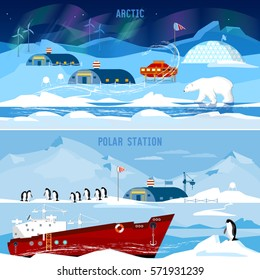North Pole, polar station banners. Scientific station studying of Antarctica and North Pole. Penguins, polar bears, polar lights