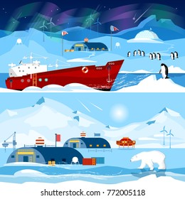 North Pole, polar station banners. Scientific station studying of Antarctica and North Pole