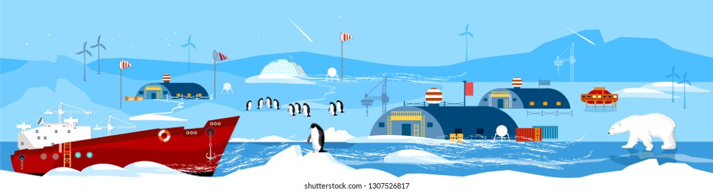 North Pole, polar station cartoon banner. Scientific station studying of Antarctica and North Pole