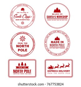 North Pole post office sign, express delivery grunge rubber stamp. Made in Santa's workshop vector illustration on the white background.