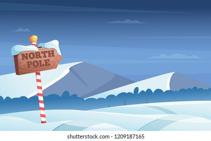 North pole road sign. Snowy background with snow trees night woods wonderland winter holidays vector cartoon illustration. North pole road snow, christmas holiday winter