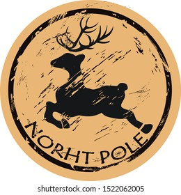 North Pole round shabby emblem design with flying deer silhouette, old retro style. Mail stamp isolated. Round seal imitation. Reindeer  jumping logo on craft paper background Vintage grunge icon stam
