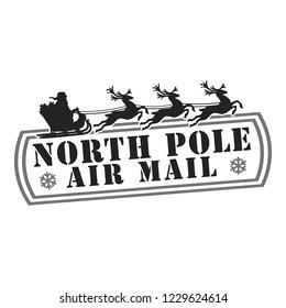 North Pole Santa Claus Stamp Design Vector Art Round Seal