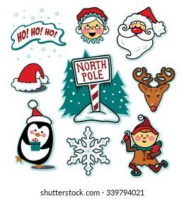 North pole Santa and Mrs. Claus illustration set