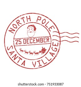 North Pole, Santa village grunge rubber stamp on white background, vector illustration