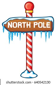 North Pole wooden sign vector illustration