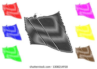 North Sinai Governorate (Governorates of Egypt, Arab Republic of Egypt) map vector illustration, scribble sketch South Sinai map