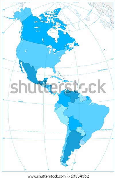 North South America Map Colors Blue Stock Vector (Royalty ...