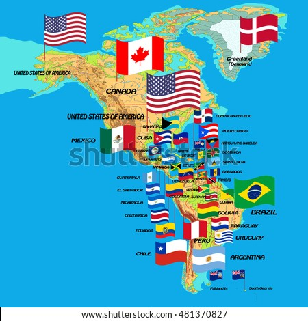 North South America Map Flags Country Stock Vector Royalty Free