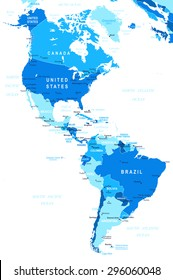 North and South America map - highly detailed vector illustration
