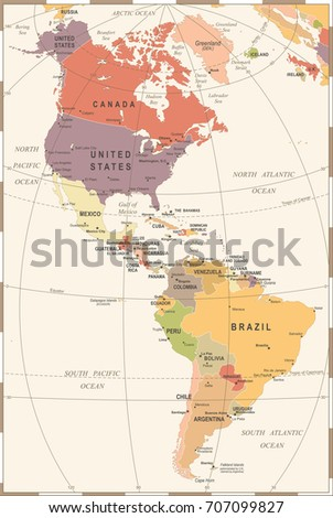North South America Map Vintage Detailed Stock Vector (Royalty Free ...