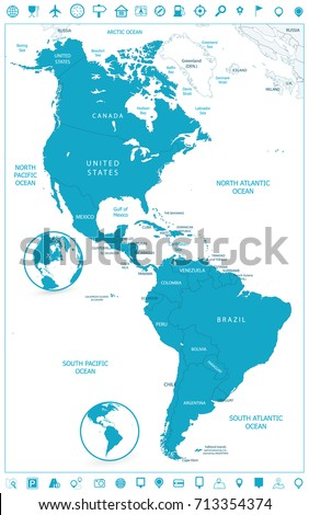 North South America Political Map Navigation Stock Vector (Royalty ...