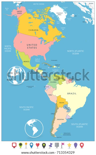 North South America Political Map Flat Stock Vector (Royalty Free ...