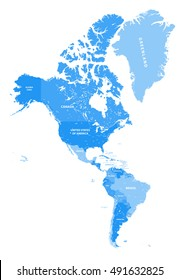 North and South America vector political map in tints of soft blue