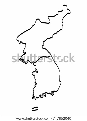 North South Korea Map Outline Graphic Stock Vector (Royalty Free ...